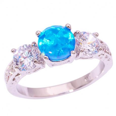 Кольцо из серебра с голубым опалом 6 мм, топазами и цирконами