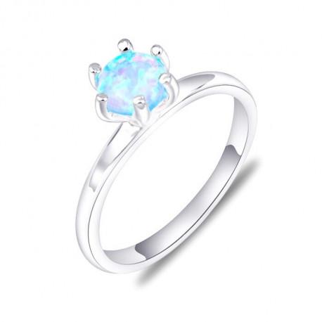 Кольцо из серебра с голубым опалом 5 мм