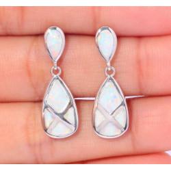 Серьги из серебра с белыми опалами