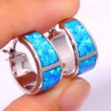 Серебряные серьги обручи с голубым опалом