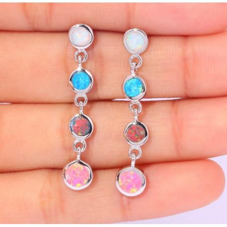 Серьги из серебра с опалами 5 мм (белый, голубой, оранжевый, розовый)