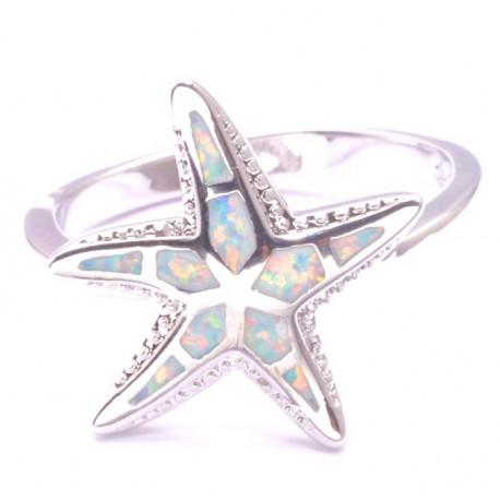 Кольцо Морская звезда из серебра с опалом