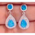Серебряные серьги с голубыми опалами и цирконами