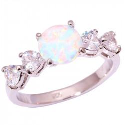 Серебряное кольцо с белым опалом 8 мм и топазами