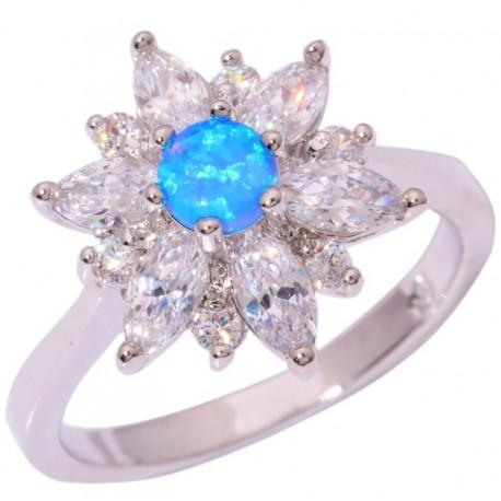 Кольцо из серебра с голубым опалом 5 мм, топазами и цирконами
