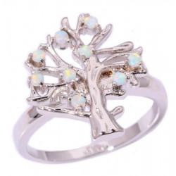 Серебряное кольцо Дерево с белыми опалами