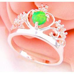 Кольцо Корона из серебра с зеленым опалом 5 мм
