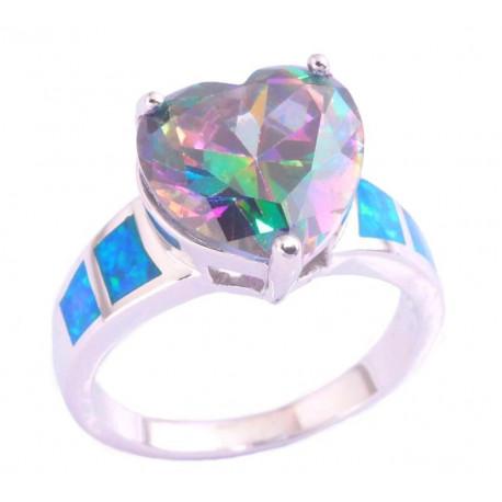 Кольцо Сердце из серебра с топазом 12 мм и опалами