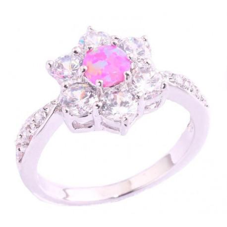Кольцо из серебра с розовым опалом 5 мм, топазами и цирконами
