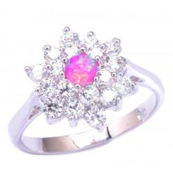 Кольцо из серебра с розовым опалом 4 мм и цирконами