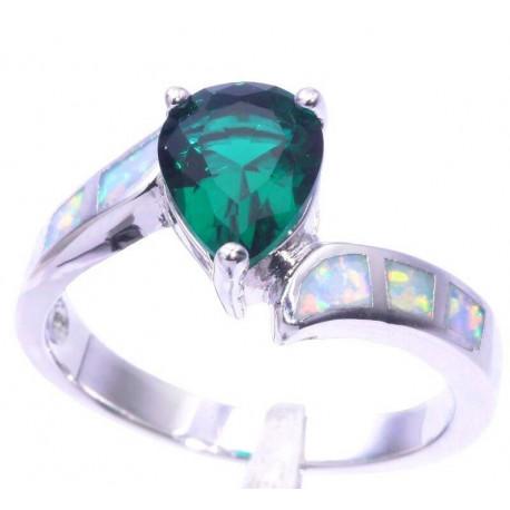 Кольцо из серебра с зеленым кварцем 9 мм, белым опалом