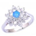 Кольцо из серебра с голубым опалом 4 мм и цирконами