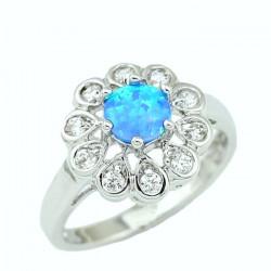 Кольцо с голубым опалом 5 мм, серебро, цирконы