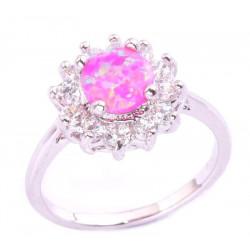 Кольцо с розовым опалом 7 мм, серебро, цирконы