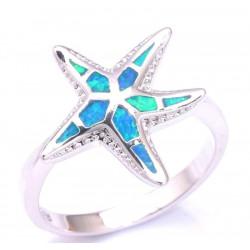 Кольцо Морская звезда из серебра с голубым опалом