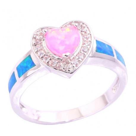 Кольцо Сердце: серебро, розовые и голубые опалы, цирконы