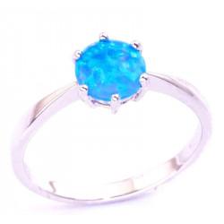 Кольцо из серебра с голубым опалом 6 мм