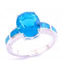 Кольцо с аквамарином 12 мм, серебро, голубой опал