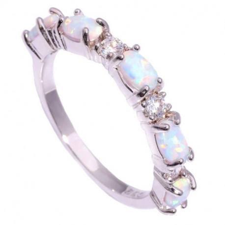 Кольцо из серебра с опалами 5 мм и цирконами