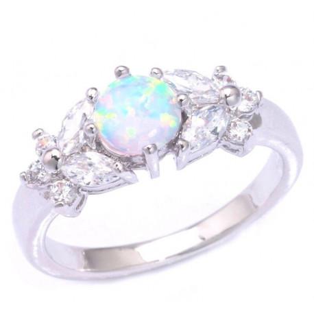Серебряное кольцо с опалом 6 мм, топазами и цирконами