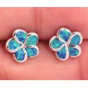 Серьги Цветы из серебра с голубым опалом