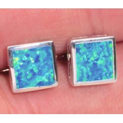 Серьги квадратные пусеты из серебра с голубым опалом
