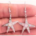 Серьги Морские звезды из серебра с белыми опалами