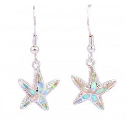 Серебряные серьги Морские звезды с белым опалом
