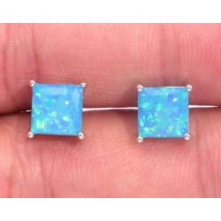 Серьги квадратные пусеты из серебра с голубым опалом 6 мм