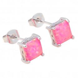 Серьги квадратные пусеты из серебра с розовым опалом 6 мм