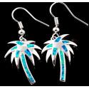 Серьги Пальмы из серебра с голубым опалом